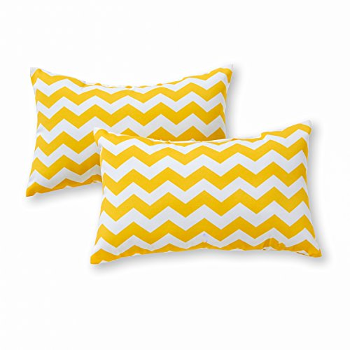 Greendale Home Fashions Rectangle Outdoor Accent Pillow (set of 2), Zigzag (Zag Plush Zig)