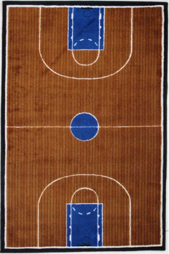 LA Rug TSC-152 3147 Supreme Basketball Court Accent Rug, 31-Inch by 47-Inch, Blue and Brown Review