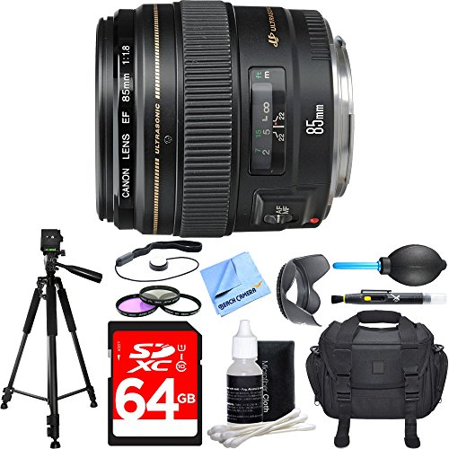 Canon EF 85mm f/1.8 USM Medium Telephoto Lens Deluxe Accessory Bundle includes Lens, 64GB SDXC Memory Card, Tripod, 58mm Filter Kit, Lens Hood, Bag, Cleaning Kit, Beach Camera Cloth and More by Canon