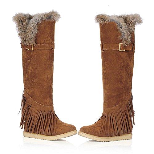 Mode Hak Dames Platte Hak Ronde Neus Bontkraag Over De Knie Laarzen Lange Sneeuwlaars Geel