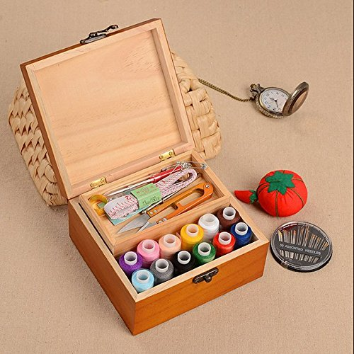 Chris-Wang Portable Brown Wooden Sewing Kit Case Suitcase Box Set for Home&Travel, with Thread/Needle/Hand Tape/Scissors/Thimble/Safety Pins Included, Suitable for Beginners/Girls/Womens by Chris-Wang