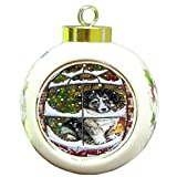 Please Come Home For Christmas Australian Shepherd Dog Sitting In Window Round Ball Ornament D378