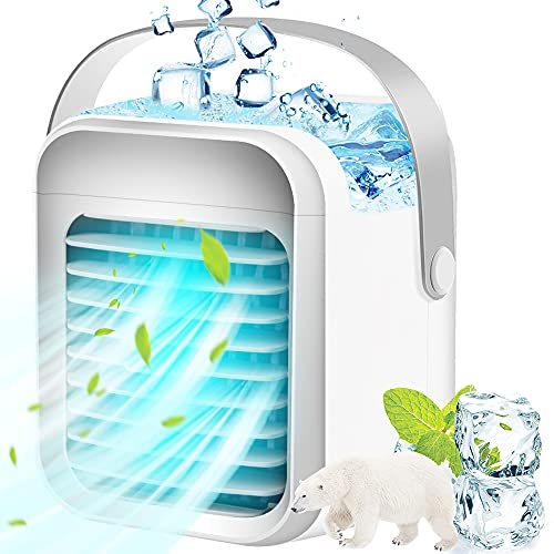 Portable Air Conditioner Cooler, Noiseless Evaporative Air Fan Rechargeable USB Desk Fan, 3 Speeds, 7 Color Night Light…
