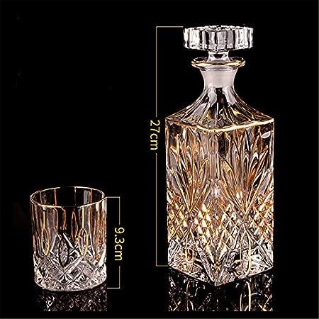 Set de whisky y vaso de cristal para el hogar, restaurantes y fiestas para un conocedor (7 piezas) Set de whisky para el hogar (color transparente, tamaño: 7 piezas)