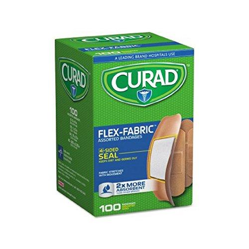 Curad Flex-Fabric Assorted Bandages 2x More Absorbent, 100 ea ( Packs of 25)