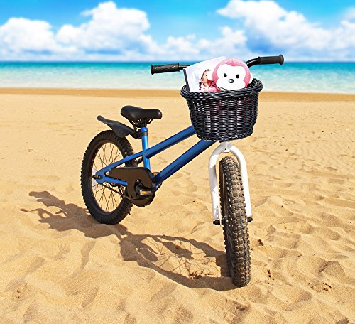 Colorbasket 01624 Front Handle Bar Kids Bike Basket, Water Resistant, Leather Straps, Black
