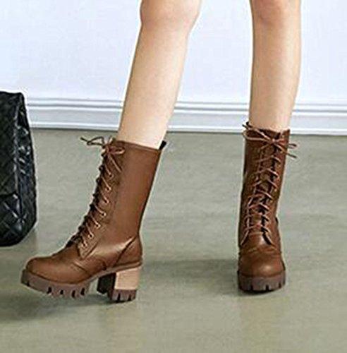 Chaqueta Chfso Para Mujer De Moda Con Cordones En Medio Tacón Grueso Plataforma Medio Pun ¢ O Botas De Invierno Marrón