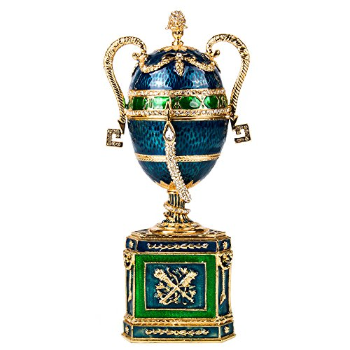 OrlovNY 7.1-Inch Swarovski Crystals Faberge Egg: Amphora Faberge Style Egg Jewelry Box Easter Egg Limited Edition Collectible Faberge -