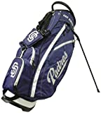 Cheap Team Golf MLB San Diego Padres Fairway Golf Stand Bag, Lightweight, 14-way Top, Spring Action Stand, Insulated Cooler Pocket, Padded Strap, Umbrella Holder & Removable Rain Hood