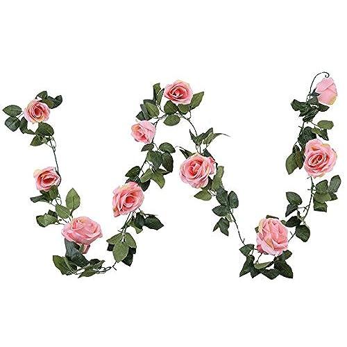 Vintage rose decor amazon houda vintage artificial fake silk flowers rose garland plant vine home garden wall wedding decor 1 pcs pink junglespirit Gallery