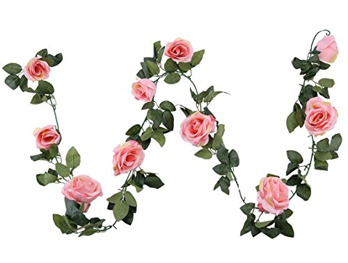 Houda Vintage Artificial Fake Silk Flowers Rose Garland Plant Vine Home Garden Wall Wedding Decor 2 PCS (Pink)