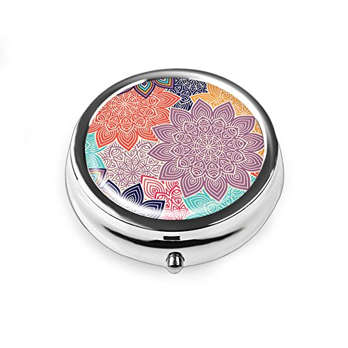 Pill Box - Lizimandu Compact 3 Compartment Medicine Case, Pill Box for Pocket or Purse(Colorful Flower)