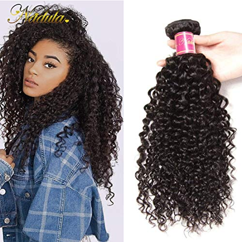 Nadula Brazilian Remy Virgin Curly Human Hair 1 Bundle Deal 8a Unprocessed Good Quality Human Hair Extensions Natural Color (12inch)