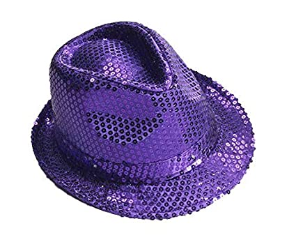 5d358a8645768 Image Unavailable. Image not available for. Color  Purple Sequin Light Up  LED Fedora Party Hat