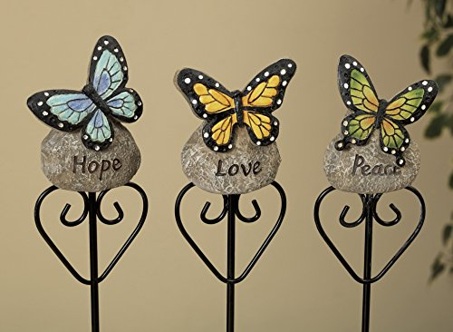 Gerson 12 Inch Resin Butterflys On Inspirational Rock Plant Stakes - 3 Piece Set (Butterfly Rock)