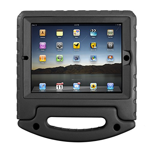 HDE Case for iPad 2 3 4 Kids Shockproof bumper Hard Cover Handle Stand with Built in Screen Protector for Apple iPad 2nd 3rd 4th Generation (Black)