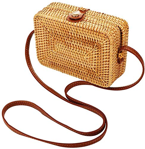 - Ainico Handwoven Rattan Round Bag Shoulder Leather Straps for Outdoor Leisure (Mini square)