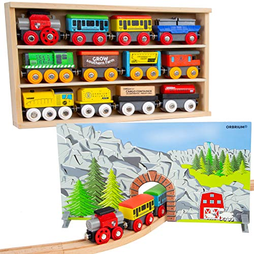 (Orbrium Toys 12 (20 Pcs) Wooden Engines & Train Cars Collection + Dual-use Wooden Box Cover/Tunnel Wooden Train Set Compatible with Thomas Wooden Railway, Thomas The Tank Engine, Brio)
