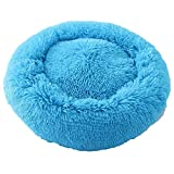 Breathable Round Pet Dog Beds Mats Winter Warming Washable Cat House Lounger for Small Medium,Blue,60x60cm