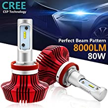 H11 Led Headlight Bulbs,Autofeel Led Headlight Conversion Kit with Perfect Beam Pattern,80W 8000LM 6500K Cool White Cree Chips