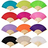 FASOTY 12 Pack Mix Colors Silk Handheld Folding Fans Bamboo Handheld Folded Fan Chinese for Women Gifts Wedding Dancing Party(12 Colors)