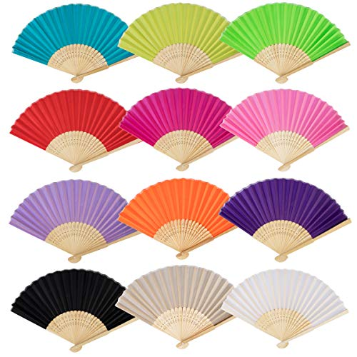 FASOTY 12 Pack Mix Colors Silk Handheld Folding Fans Bamboo Handheld Folded Fan Chinese for Women Gifts Wedding Dancing Party(12 Colors) by FASOTY