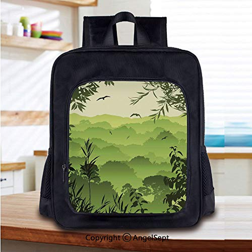 Casual Style Lightweight Backpack Forest Scenery with Tea Trees and Gulls in the Jungle Birds Branches Eco Graphic Work School Bag Travel Daypack,Green