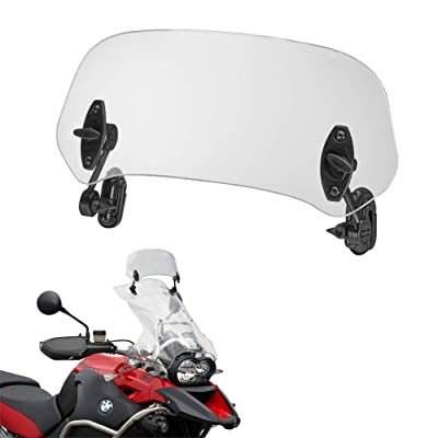 14.5 inch Large Size Motorcycle Clip on Wind Deflector, Add-On Windscreen Spoiler Blade Adjustable Windshield Extension Universal (Clear): Automotive