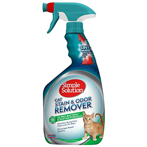 Simple Solution Cat Stain and Odor Remover | Pro-Bacteria and Enzyme Formula | Eliminate Tough Cat Stains and Odors | 32 Ounces