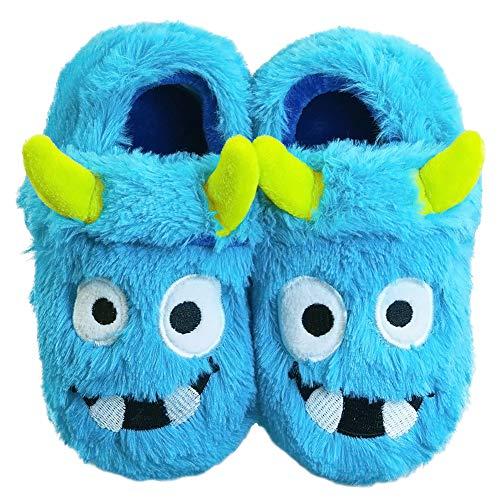 LA PLAGE Boys Monster Slippers Toddler Boys House Cartoon Warm Soft Bedroom Slippers
