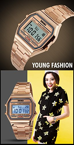 71097b5d8 Gosasa Classic Women's Rose Gold Stainless Steel Digital - Import It All
