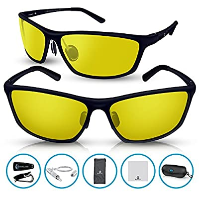 BLUPOND RALLY Night Vision Polarized Sunglasses, Metal Frame Glasses for Driving Fishing Shooting with Anti-Glare UV400 Lenses Includes 5 IN 1 Accessories Set
