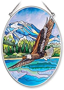 Amia 6949 Hand Painted Glass Suncatcher With Eagle Design, 5-1/4-inch By 7-inch Oval