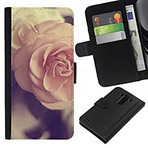 All Phone Most Case / Oferta Especial Cáscara Funda de cuero Monedero Cubierta de proteccion Caso / Wallet Case for LG G3 // amor de primavera del rosa del vintage subió viñeta