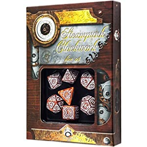 Caramel & White Steampunk Clockwork Dice Set by Q-Workshop
