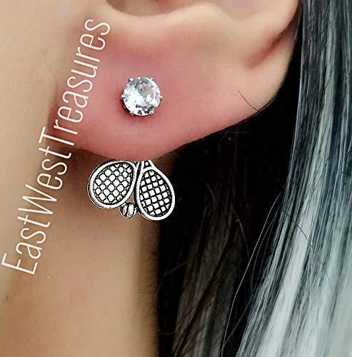 Tennis Racket earrings-Tennis player Coach jewelry gifts for women teens-Steel-Ear Jackets ()