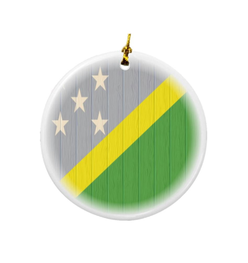 Rikki Knight Solomon Islands Flag on Distressed Wood Design Round Porcelain Two-Sided Christmas Ornaments