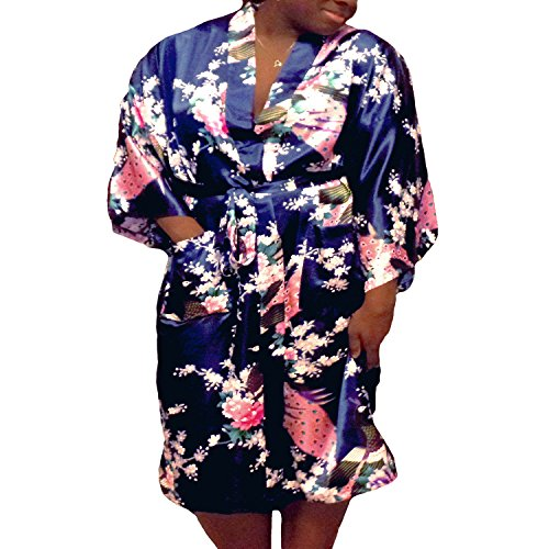 Floral Satin Womens Plus Size Robes, Sizes 20-38, Lightweight, Knee Length (Navy Blue, 4XL) -