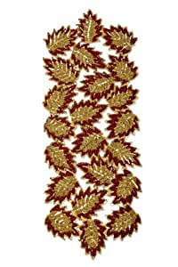 "Cotton Craft - Leaf Hand Beaded Table Runner - Dark Rust Gold - 13""x36"" Oblong - Other color - Rust Brown Green - Hand made by skilled artisans - A beautiful complement to your dinner table décor - Charger, Placemat, Coaster and Napkin Ring also available"