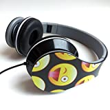 Emoji Folding Fatheads Stereo Headphones Winking Face with Stuck Out Tongue Black
