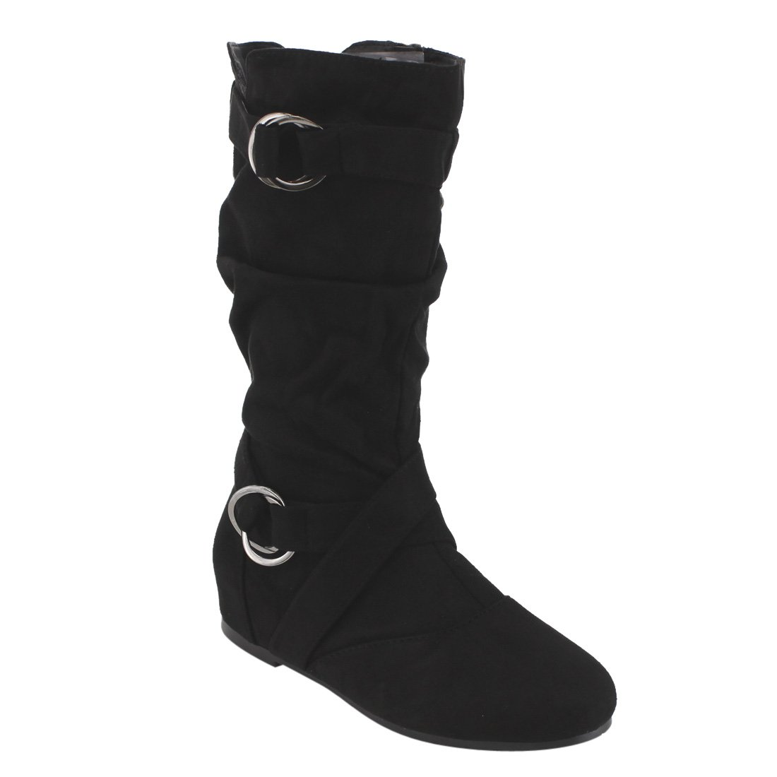 Forever Kayden-84 Women's Cut Out Side Zipper Strap Buckle Flat Heel Slouchy Boots,Black,5