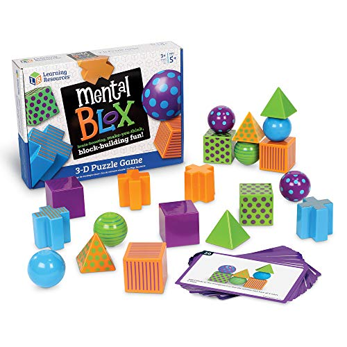 Learning Resources Mental Blox Critical Thinking Game, 20 Blocks, 40 Activity Cards, Ages - Visual Perceptual Skill Building