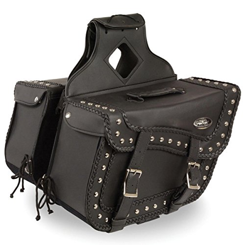 - Milwaukee Leather Large Braided Zip-Off PVC Throw Over Saddlebags with Studs - One Size