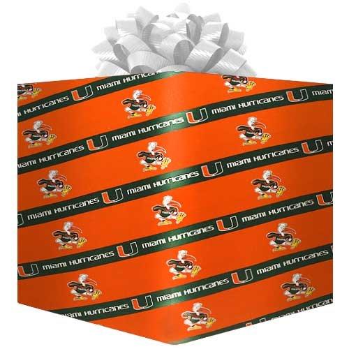 NCAA Miami Hurricanes Logo Gift Wrap Paper - Orange