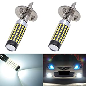 KaTur 2pcs 900 Lumens H1 Base Super Bright 3014 78SMD Lens LED Bulbs Car Driving Daytime Running Lights Xenon White 6000K DC 12V-24V