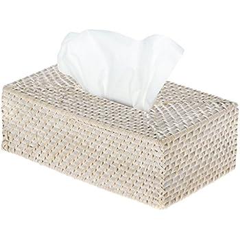 KOUBOO 1030061 Laguna Rectangular Rattan Tissue Box Cover, White Wash, 3.25