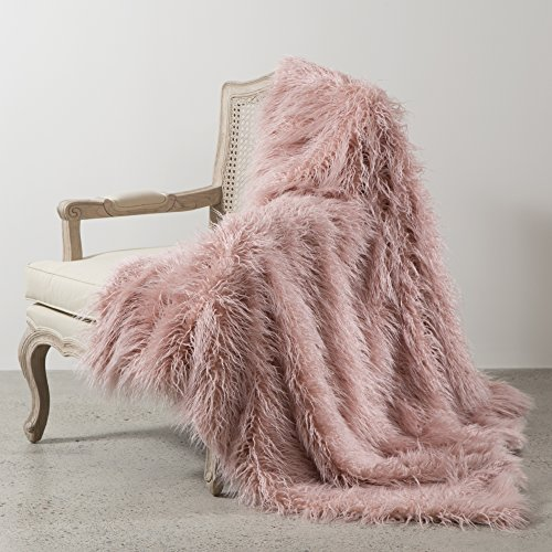 - Best Home Fashion Pink Mongolian Lamb Faux Fur Throw Blanket- 84