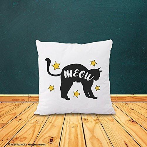 Meow pillowcase - cat pillow cover - cat decor - home decor - gift for cat lovers - decorative pillow cover- black cat pillow cover - Christmas gift - Gift for Friends - 16x16