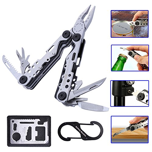 Stainless Steel Multi Tool With Plier,Knife,Screwdriver,File,Saw,Opener Scissors - Multitool For Home, Hunting, Survival and Outdoor Activities by Jakemy