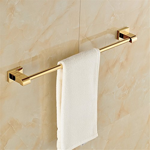Leyden TM Luxury Gold Polished Brass Bathroom Single Towel Bar Wall Mount Towel Rack ()